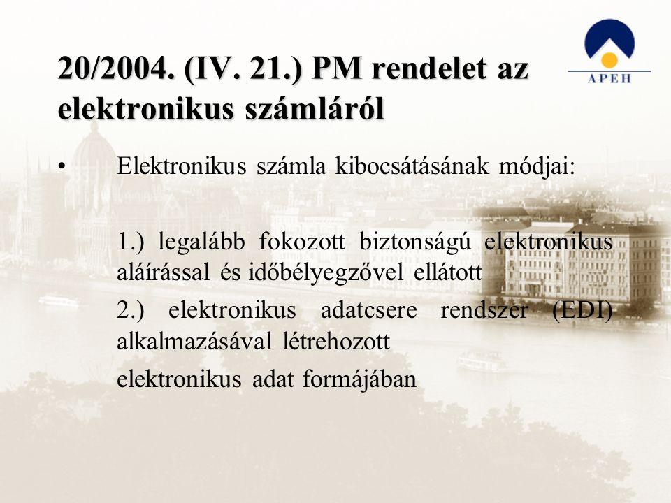 20/2004. (IV. 21.) PM rendelet az elektronikus számláról Elektronikus számla kibocsátásának módjai: 1.) legalább fokozott biztonságú elektronikus aláí