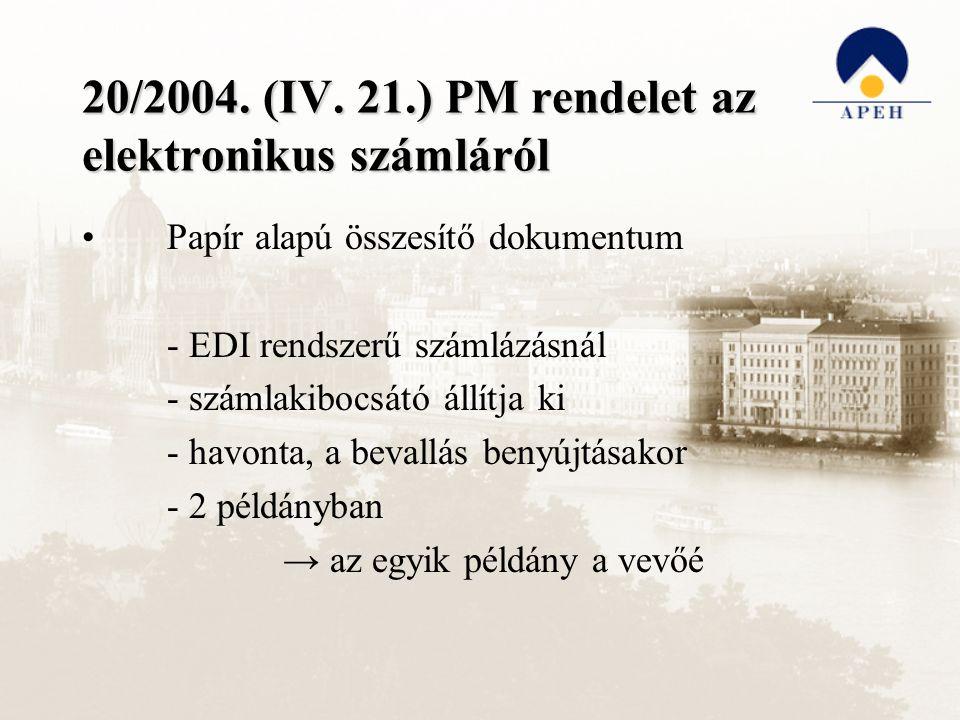 20/2004. (IV. 21.) PM rendelet az elektronikus számláról Papír alapú összesítő dokumentum - EDI rendszerű számlázásnál - számlakibocsátó állítja ki -