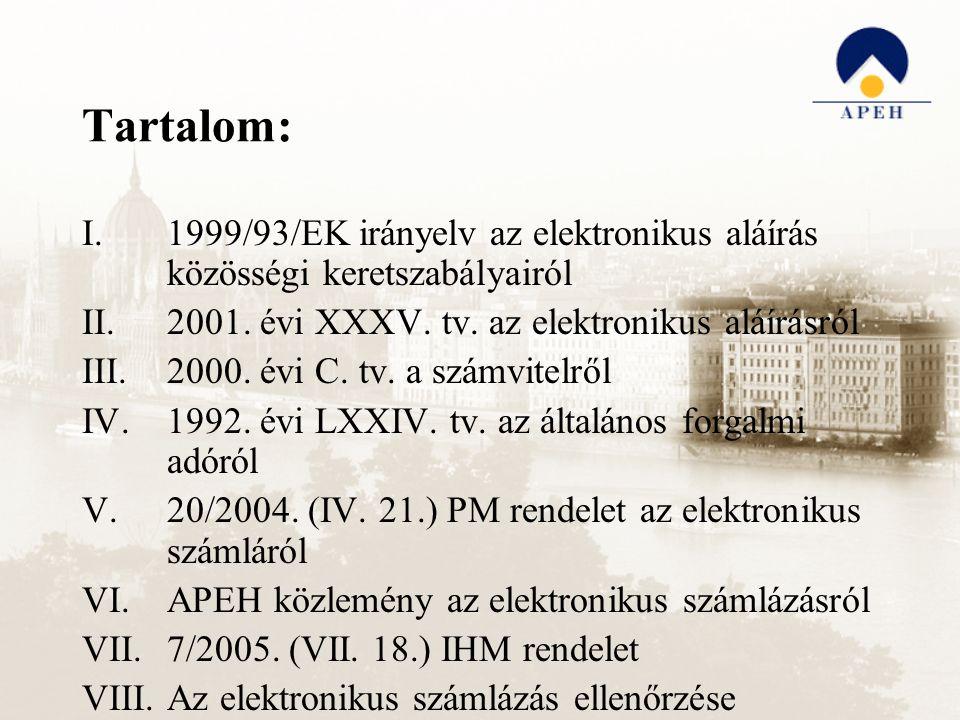 Tartalom: I.1999/93/EK irányelv az elektronikus aláírás közösségi keretszabályairól II.2001. évi XXXV. tv. az elektronikus aláírásról III.2000. évi C.