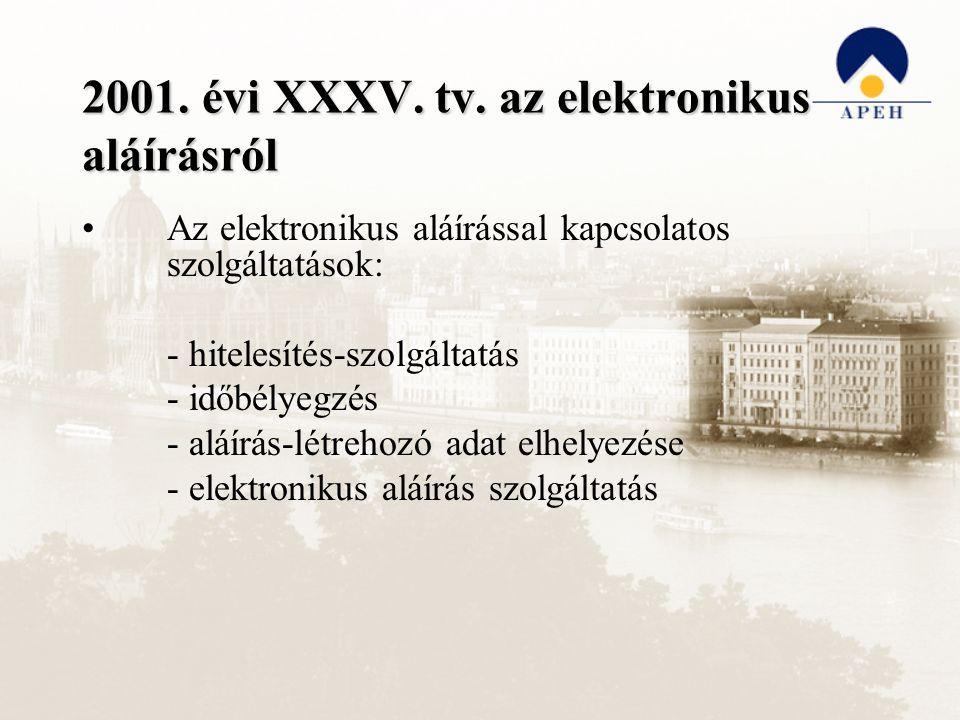 2001. évi XXXV. tv. az elektronikus aláírásról Az elektronikus aláírással kapcsolatos szolgáltatások: - hitelesítés-szolgáltatás - időbélyegzés - aláí