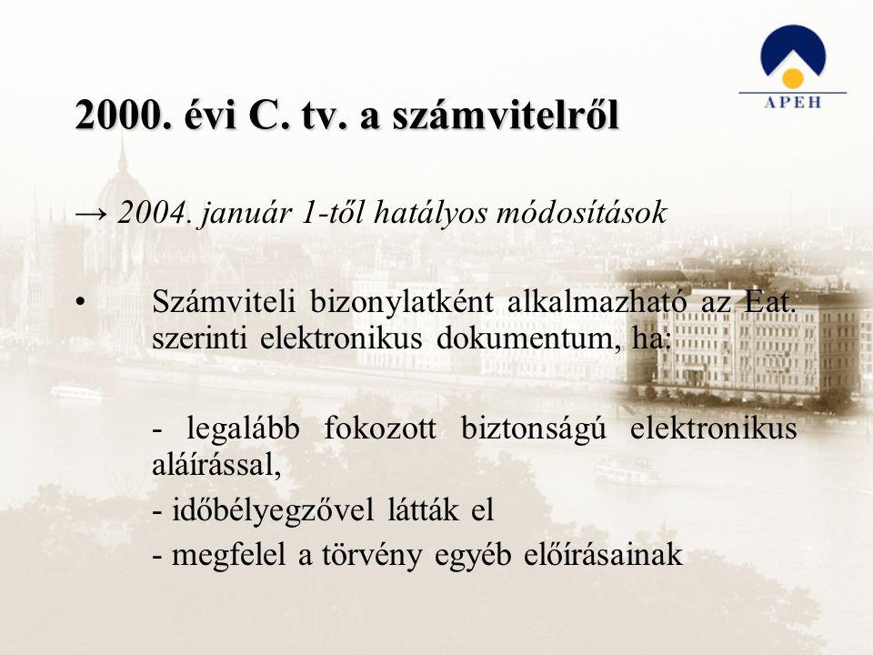 2000. évi C. tv. a számvitelről → 2004. január 1-től hatályos módosítások Számviteli bizonylatként alkalmazható az Eat. szerinti elektronikus dokument