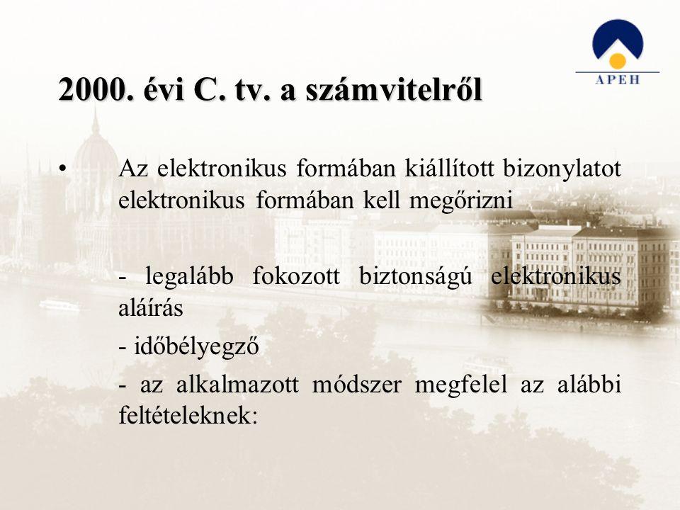 2000. évi C. tv. a számvitelről Az elektronikus formában kiállított bizonylatot elektronikus formában kell megőrizni - legalább fokozott biztonságú el