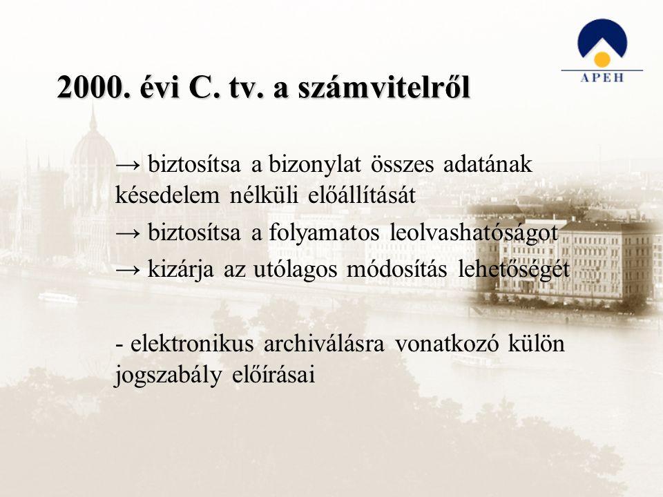 2000. évi C. tv. a számvitelről → biztosítsa a bizonylat összes adatának késedelem nélküli előállítását → biztosítsa a folyamatos leolvashatóságot → k