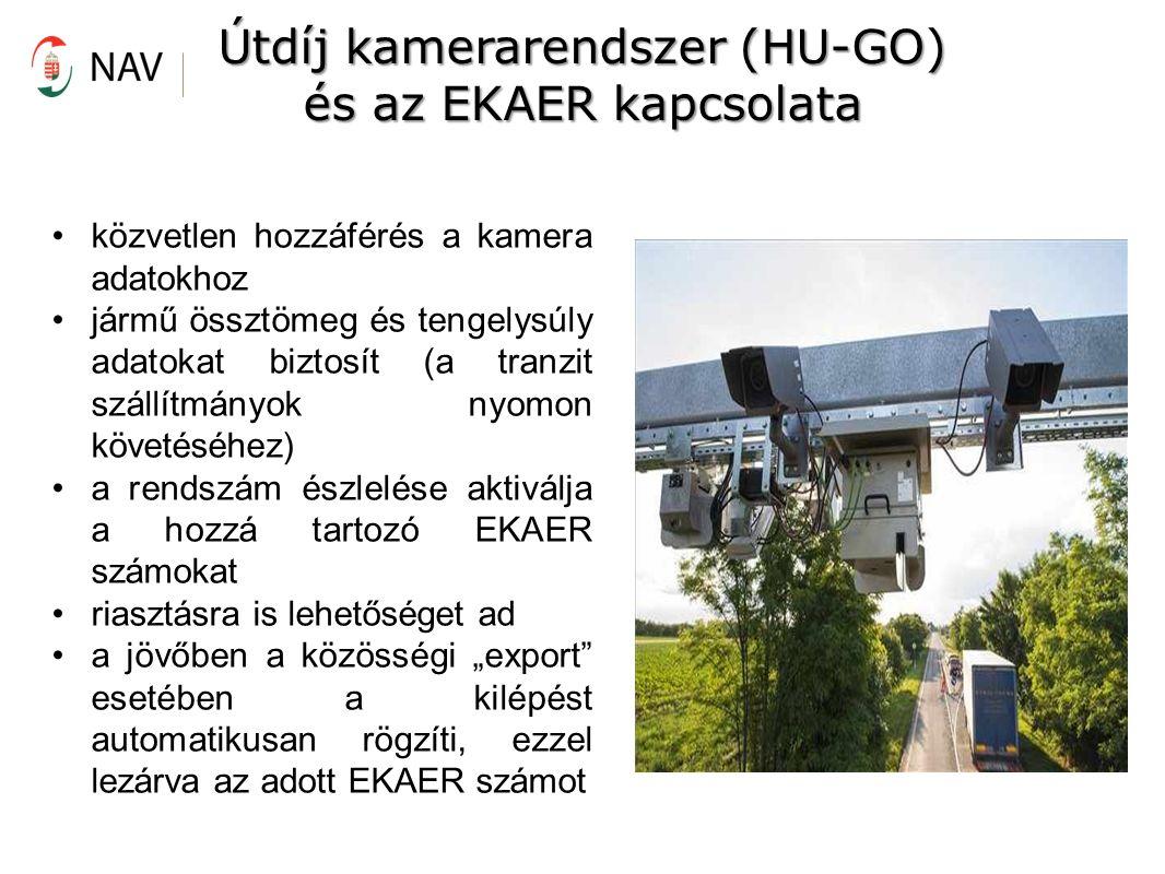 """közvetlen hozzáférés a kamera adatokhoz jármű össztömeg és tengelysúly adatokat biztosít (a tranzit szállítmányok nyomon követéséhez) a rendszám észlelése aktiválja a hozzá tartozó EKAER számokat riasztásra is lehetőséget ad a jövőben a közösségi """"export esetében a kilépést automatikusan rögzíti, ezzel lezárva az adott EKAER számot Útdíj kamerarendszer (HU-GO) és az EKAER kapcsolata"""