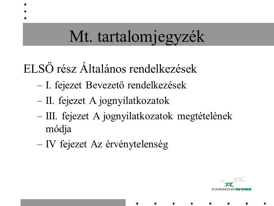 Mt. tartalomjegyzék ELSŐ rész Általános rendelkezések –I.