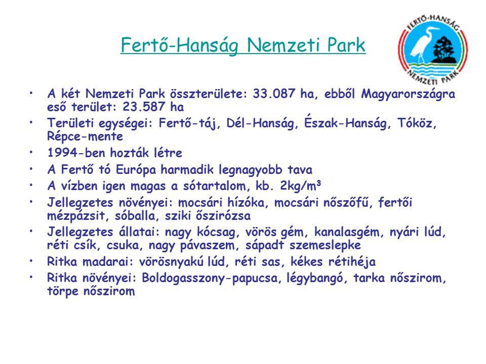 Fertő-Hanság Nemzeti Park A két Nemzeti Park összterülete: 33.087 ha, ebből Magyarországra eső terület: 23.587 ha Területi egységei: Fertő-táj, Dél-Hanság, Észak-Hanság, Tóköz, Répce-mente 1994-ben hozták létre A Fertő tó Európa harmadik legnagyobb tava A vízben igen magas a sótartalom, kb.