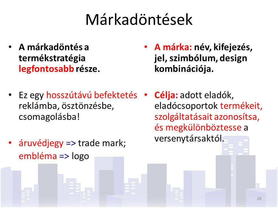 Márkadöntések A márka: név, kifejezés, jel, szimbólum, design kombinációja.