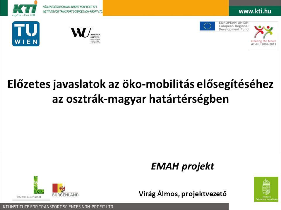 Előzetes javaslatok az öko-mobilitás elősegítéséhez az osztrák-magyar határtérségben EMAH projekt Virág Álmos, projektvezető