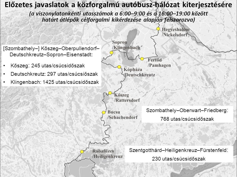 Előzetes javaslatok a közforgalmú autóbusz-hálózat kiterjesztésére (a viszonylatonkénti utasszámok a 6:00–9:00 és a 16:00–19:00 között határt átlépők célforgalmi kikérdezése alapján felszorozva) Szentgotthárd–Heiligenkreuz–Fürstenfeld : 230 utas/csúcsidőszak Szombathely–Oberwart–Friedberg : 768 utas/csúcsidőszak [Szombathely–] Kőszeg–Oberpullendorf– Deutschkreutz–Sopron–Eisenstadt: Kőszeg : 245 utas/csúcsidőszak Deutschkreutz: 297 utas/csúcsiőszak Klingenbach: 1425 utas/csúcsidőszak