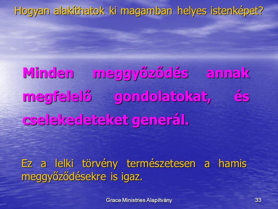 33 Minden meggyőződés annak megfelelő gondolatokat, és cselekedeteket generál. Ez a lelki törvény természetesen a hamis meggyőződésekre is igaz. Hogya