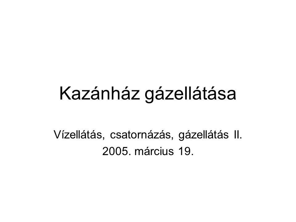 Kazánház gázellátása Vízellátás, csatornázás, gázellátás II. 2005. március 19.