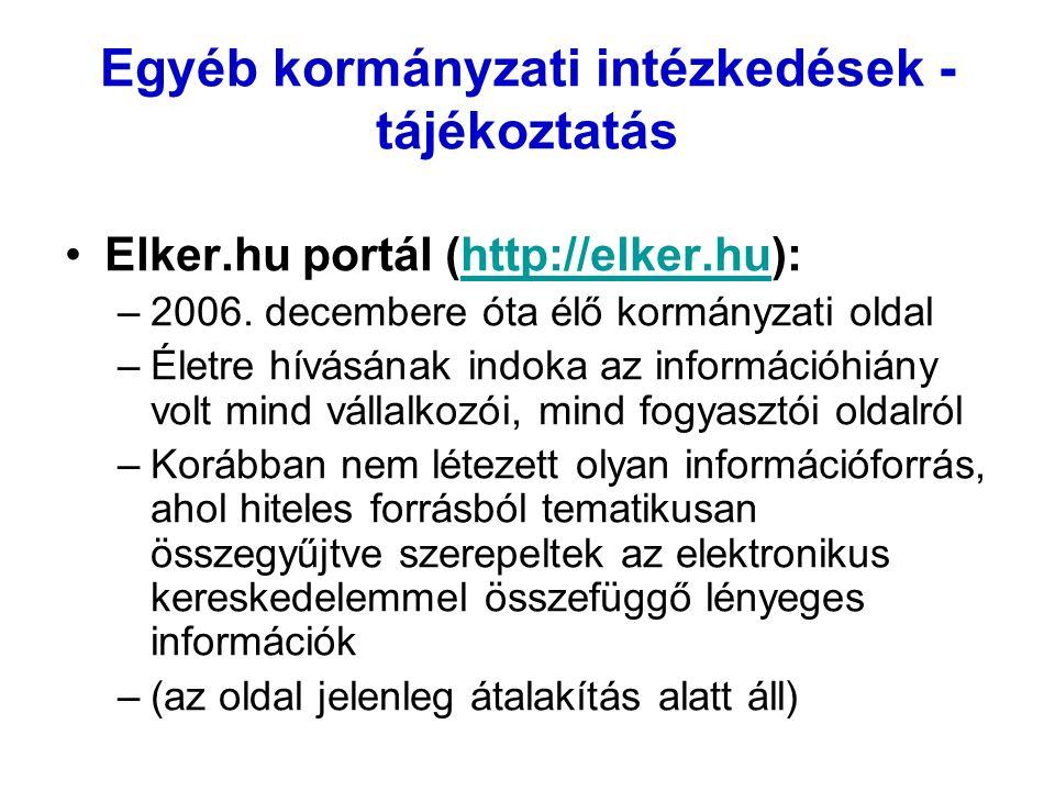 Egyéb kormányzati intézkedések - tájékoztatás Elker.hu portál (http://elker.hu):http://elker.hu –2006. decembere óta élő kormányzati oldal –Életre hív