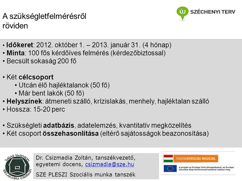 Időkeret: 2012. október 1. – 2013. január 31.