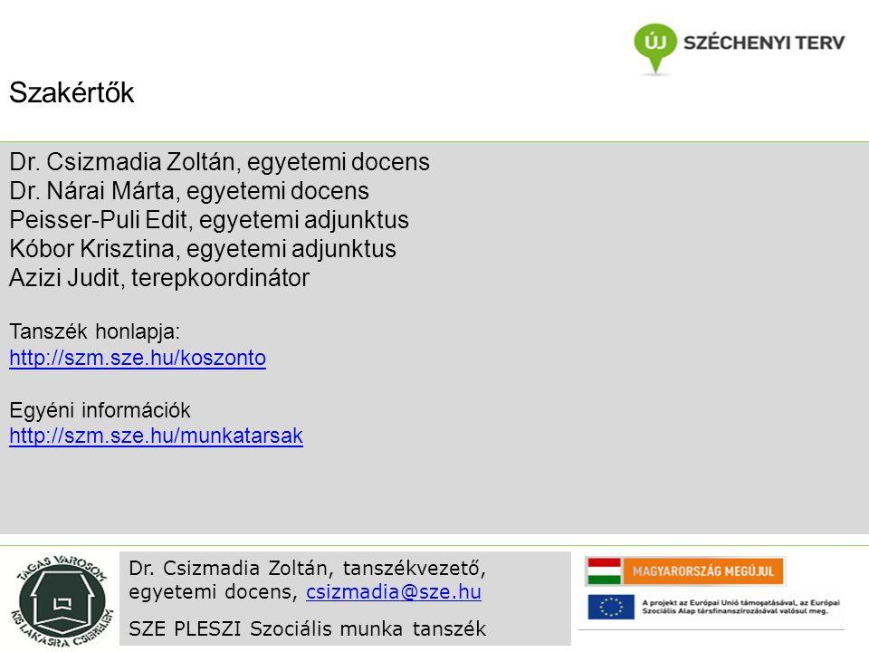 Dr. Csizmadia Zoltán, egyetemi docens Dr.
