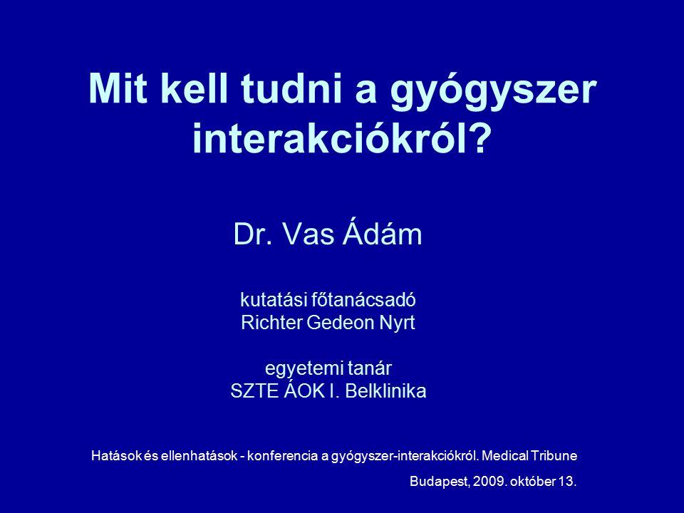 Mit kell tudni a gyógyszer interakciókról. Dr.