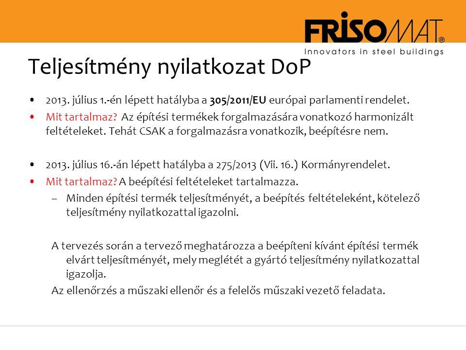 Teljesítmény nyilatkozat DoP 2013.