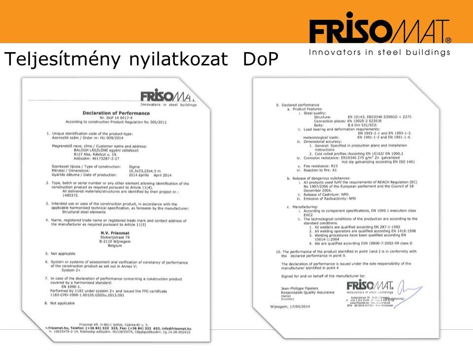 Teljesítmény nyilatkozat DoP