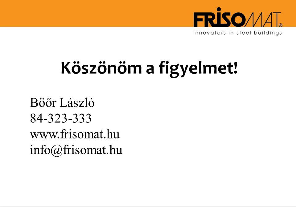 Köszönöm a figyelmet! Böőr László 84-323-333 www.frisomat.hu info@frisomat.hu