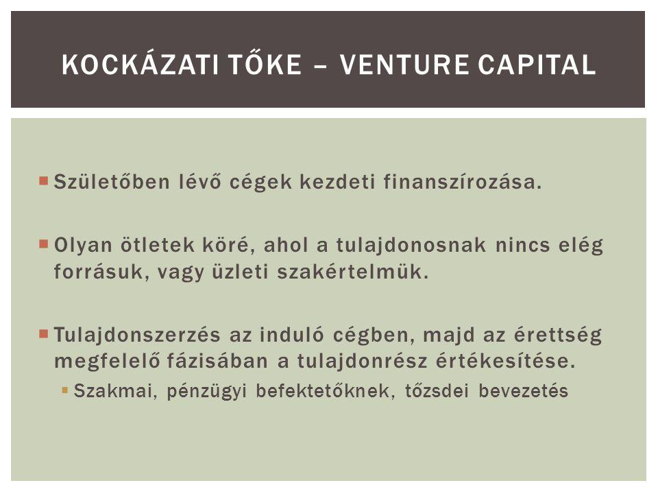  1989-ben két amerikai és egy holland kockázati tőketársaság kezdte meg a működését  1991: Magyar Kockázati Tőke Egyesület  1998.