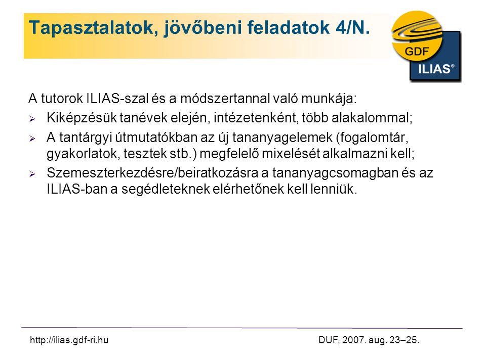 http://ilias.gdf-ri.hu DUF, 2007. aug. 23–25. Tapasztalatok, jövőbeni feladatok 4/N.