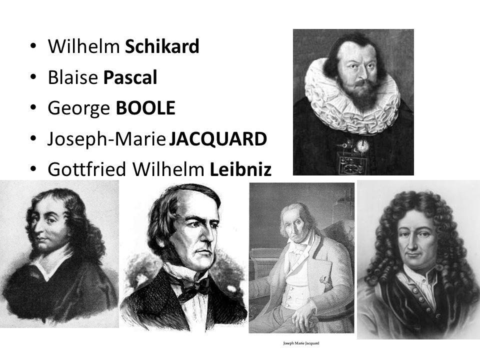 Wilhelm Schikard Blaise Pascal George BOOLE Joseph-Marie JACQUARD Gottfried Wilhelm Leibniz