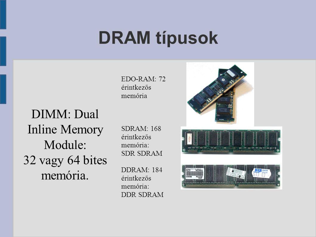 DRAM típusok DIMM: Dual Inline Memory Module: 32 vagy 64 bites memória.