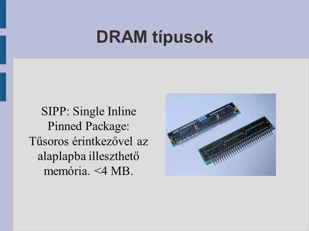 DRAM típusok SIPP: Single Inline Pinned Package: Tűsoros érintkezővel az alaplapba illeszthető memória.