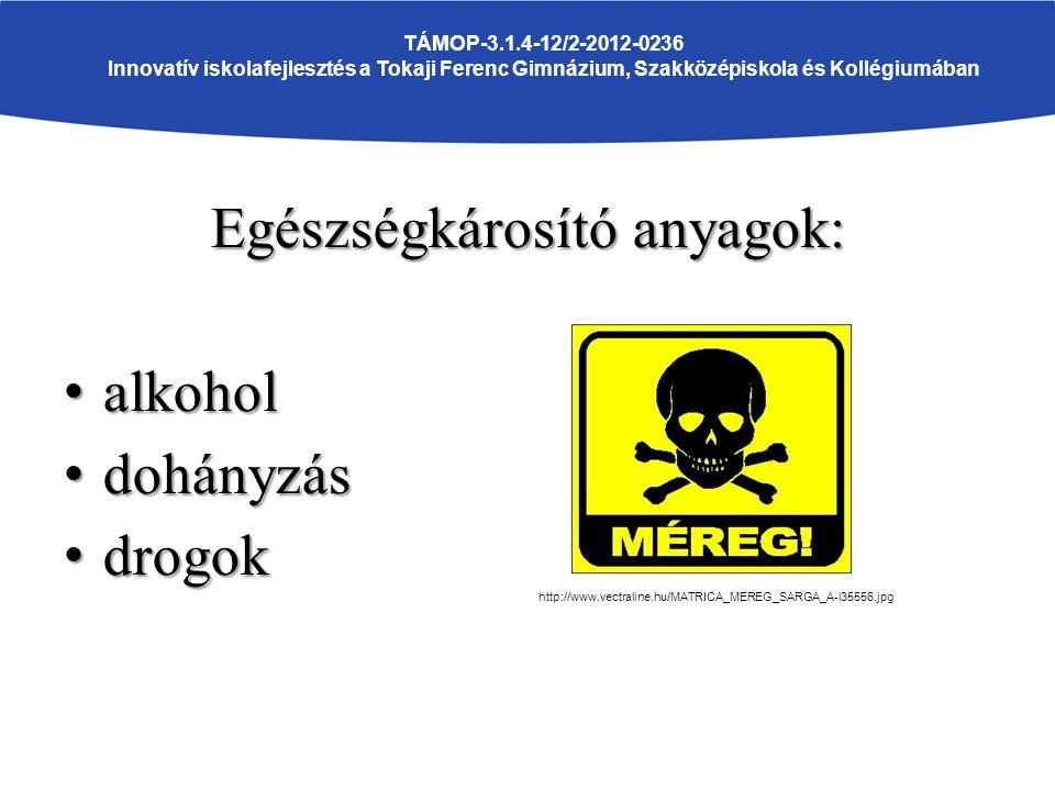 Egészségkárosító anyagok: alkohol alkohol dohányzás dohányzás drogok drogok TÁMOP-3.1.4-12/2-2012-0236 Innovatív iskolafejlesztés a Tokaji Ferenc Gimnázium, Szakközépiskola és Kollégiumában http://www.vectraline.hu/MATRICA_MEREG_SARGA_A-i35556.jpg