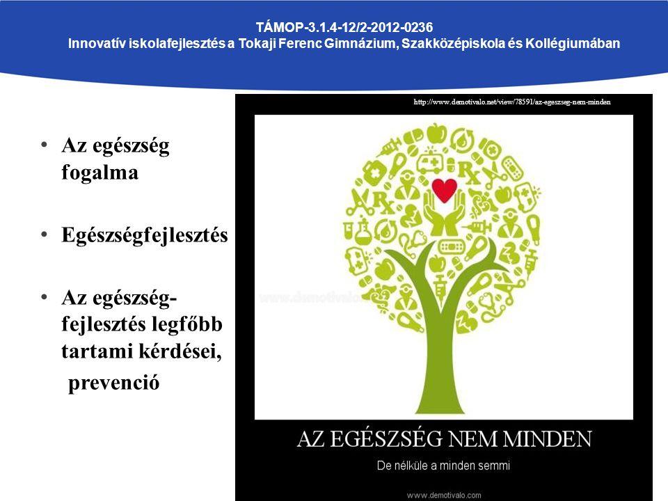 Az egészség fogalma Egészségfejlesztés Az egészség- fejlesztés legfőbb tartami kérdései, prevenció TÁMOP-3.1.4-12/2-2012-0236 Innovatív iskolafejlesztés a Tokaji Ferenc Gimnázium, Szakközépiskola és Kollégiumában http://www.demotivalo.net/view/78591/az-egeszseg-nem-minden