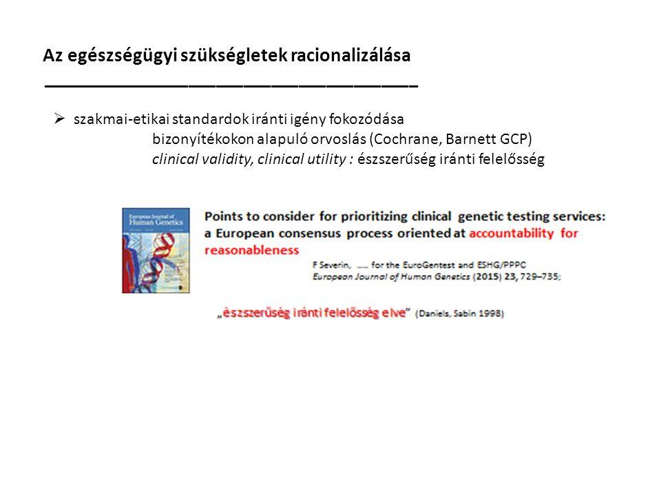 Az egészségügyi szükségletek racionalizálása _________________________________________  szakmai-etikai standardok iránti igény fokozódása bizonyítékokon alapuló orvoslás (Cochrane, Barnett GCP) clinical validity, clinical utility : észszerűség iránti felelősség