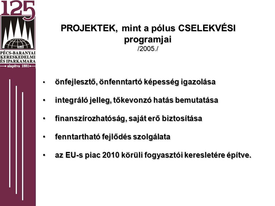 PROJEKTEK, mint a pólus CSELEKVÉSI programjai /2005./ önfejlesztő, önfenntartó képesség igazolása önfejlesztő, önfenntartó képesség igazolása integráló jelleg, tőkevonzó hatás bemutatása integráló jelleg, tőkevonzó hatás bemutatása finanszírozhatóság, saját erő biztosítása finanszírozhatóság, saját erő biztosítása fenntartható fejlődés szolgálata fenntartható fejlődés szolgálata az EU-s piac 2010 körüli fogyasztói keresletére építve.