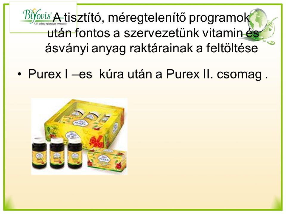 A tisztító, méregtelenítő programok után fontos a szervezetünk vitamin és ásványi anyag raktárainak a feltöltése Purex I –es kúra után a Purex II.