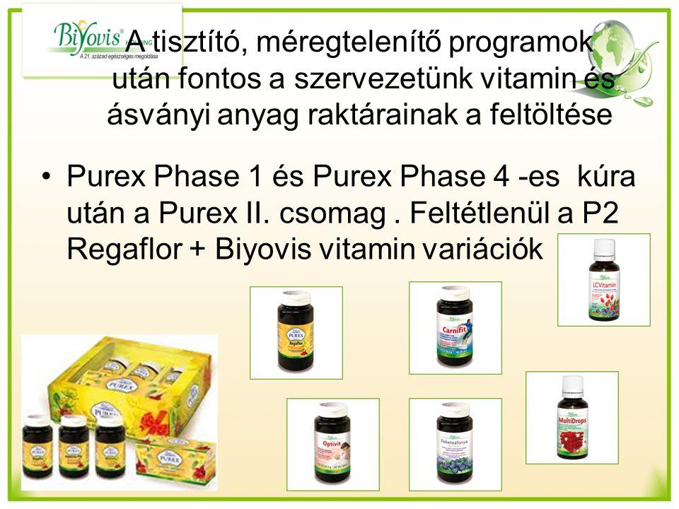 A tisztító, méregtelenítő programok után fontos a szervezetünk vitamin és ásványi anyag raktárainak a feltöltése Purex Phase 1 és Purex Phase 4 -es kúra után a Purex II.