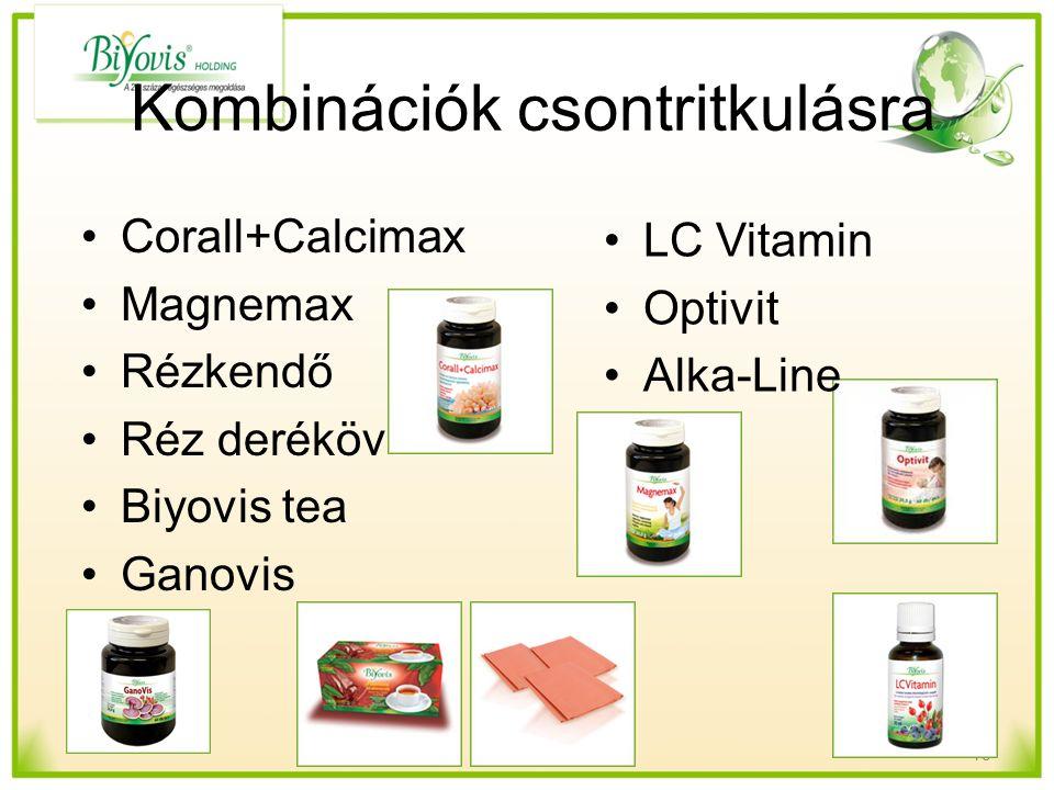 Kombinációk csontritkulásra LC Vitamin Optivit Alka-Line 15 Corall+Calcimax Magnemax Rézkendő Réz deréköv Biyovis tea Ganovis