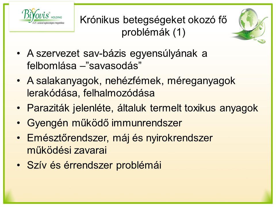 Krónikus betegségeket okozó fő problémák (1) A szervezet sav-bázis egyensúlyának a felbomlása – savasodás A salakanyagok, nehézfémek, méreganyagok lerakódása, felhalmozódása Paraziták jelenléte, általuk termelt toxikus anyagok Gyengén működő immunrendszer Emésztőrendszer, máj és nyirokrendszer működési zavarai Szív és érrendszer problémái