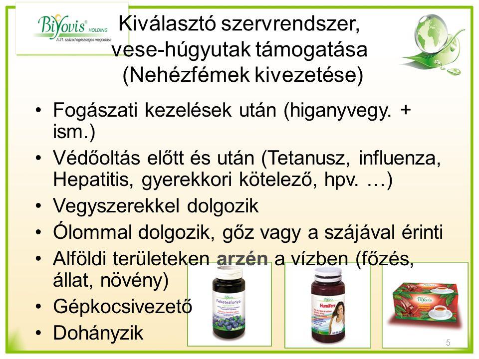 Kiválasztó szervrendszer, vese-húgyutak támogatása (Nehézfémek kivezetése) Fogászati kezelések után (higanyvegy. + ism.) Védőoltás előtt és után (Teta