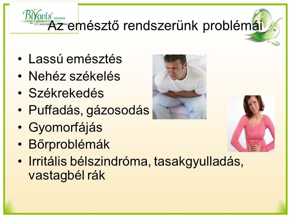 Az emésztő rendszerünk problémái Lassú emésztés Nehéz székelés Székrekedés Puffadás, gázosodás Gyomorfájás Bőrproblémák Irritális bélszindróma, tasakgyulladás, vastagbél rák