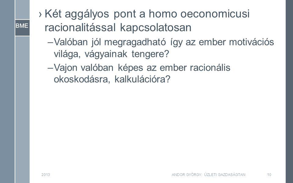 BME ›Két aggályos pont a homo oeconomicusi racionalitással kapcsolatosan –Valóban jól megragadható így az ember motivációs világa, vágyainak tengere.