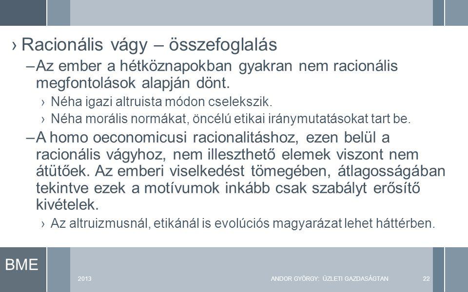 BME 2013ANDOR GYÖRGY: ÜZLETI GAZDASÁGTAN22 ›Racionális vágy – összefoglalás –Az ember a hétköznapokban gyakran nem racionális megfontolások alapján dönt.