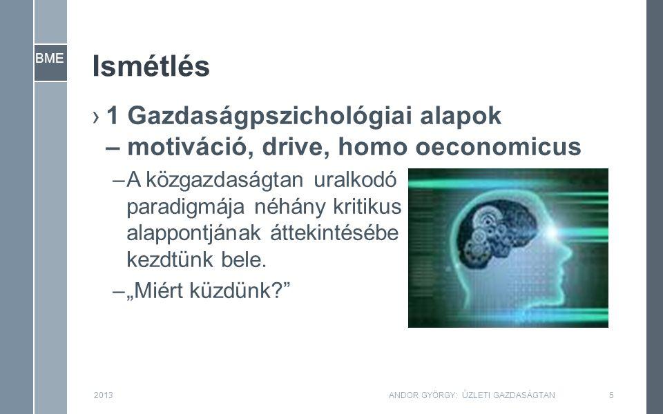 BME Ismétlés ›1 Gazdaságpszichológiai alapok – motiváció, drive, homo oeconomicus –A közgazdaságtan uralkodó paradigmája néhány kritikus alappontjának áttekintésébe kezdtünk bele.