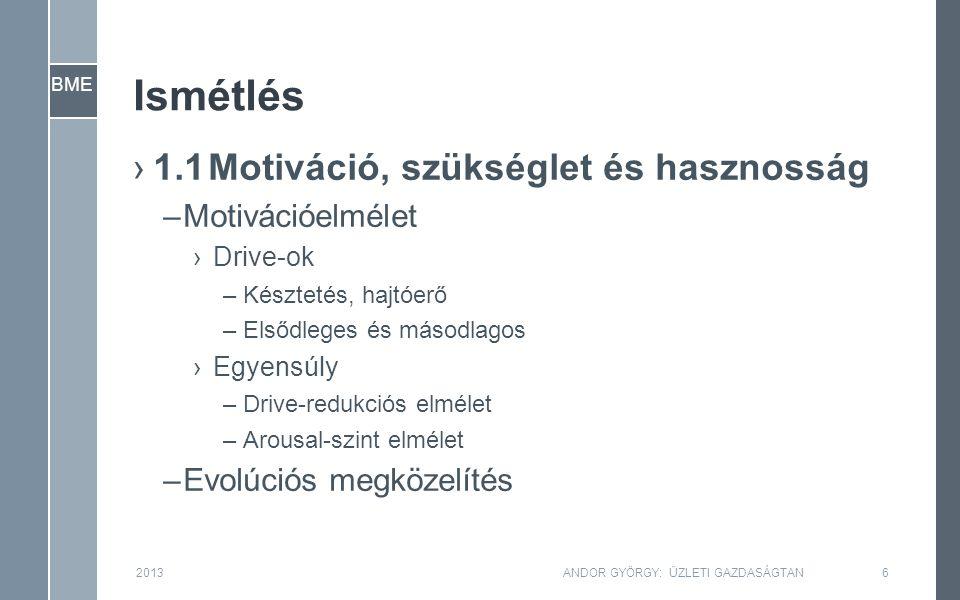 BME Ismétlés ›1.1Motiváció, szükséglet és hasznosság –Motivációelmélet ›Drive-ok –Késztetés, hajtóerő –Elsődleges és másodlagos ›Egyensúly –Drive-redukciós elmélet –Arousal-szint elmélet –Evolúciós megközelítés 2013ANDOR GYÖRGY: ÜZLETI GAZDASÁGTAN6
