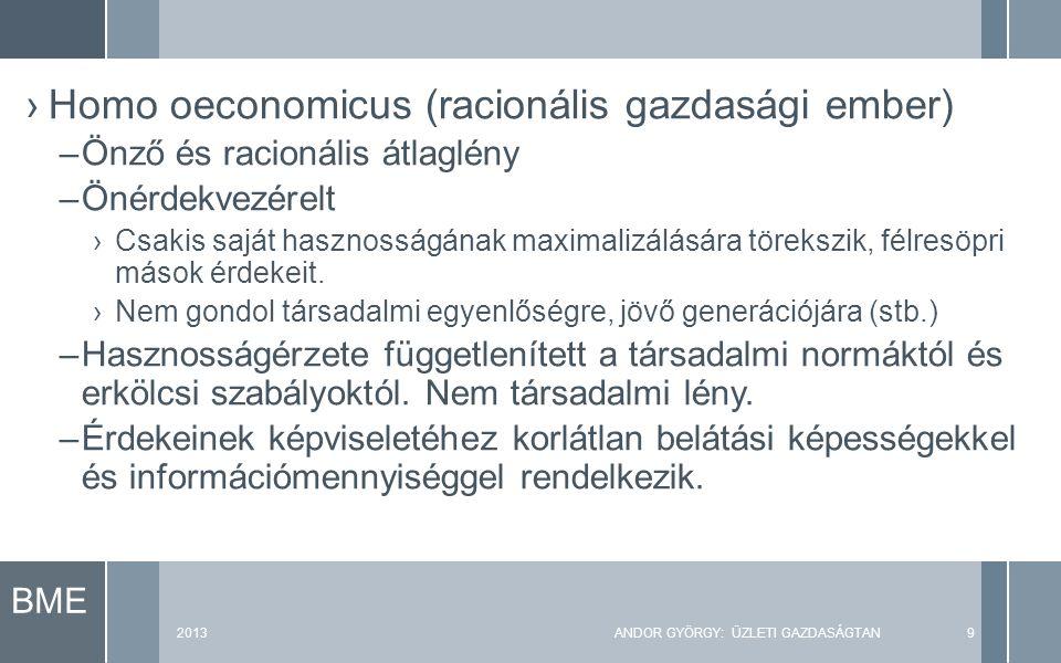 BME 2013ANDOR GYÖRGY: ÜZLETI GAZDASÁGTAN9 ›Homo oeconomicus (racionális gazdasági ember) –Önző és racionális átlaglény –Önérdekvezérelt ›Csakis saját hasznosságának maximalizálására törekszik, félresöpri mások érdekeit.