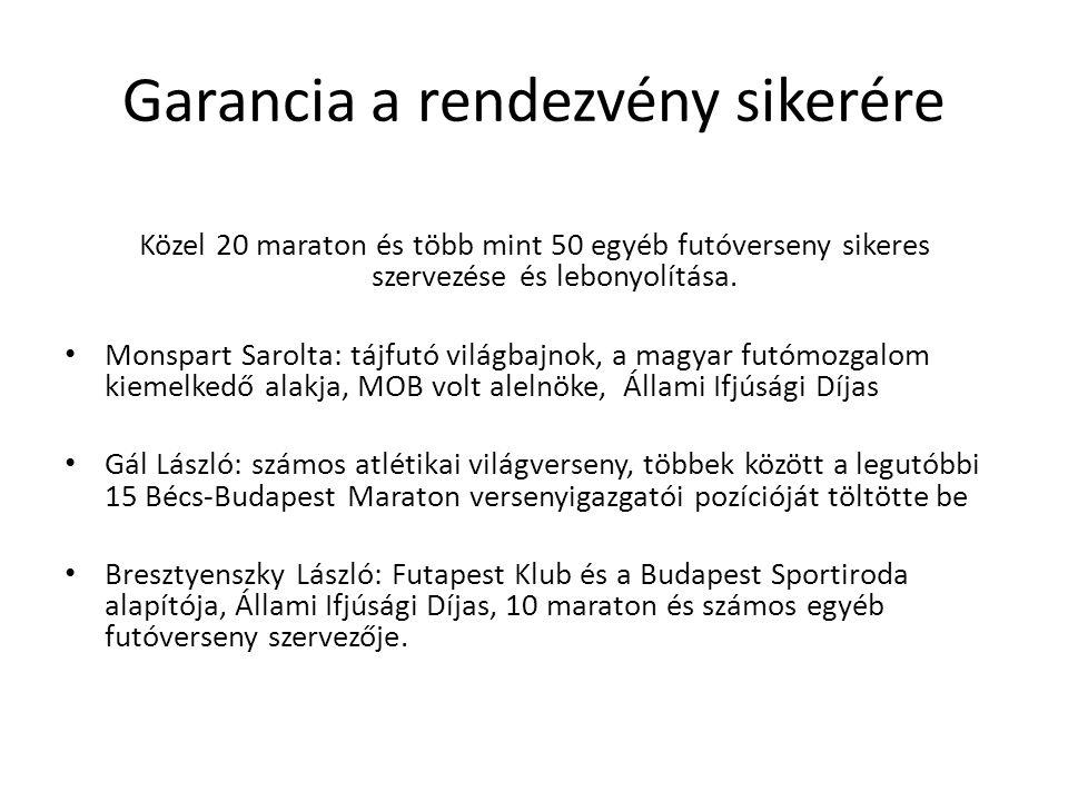 Garancia a rendezvény sikerére Közel 20 maraton és több mint 50 egyéb futóverseny sikeres szervezése és lebonyolítása.