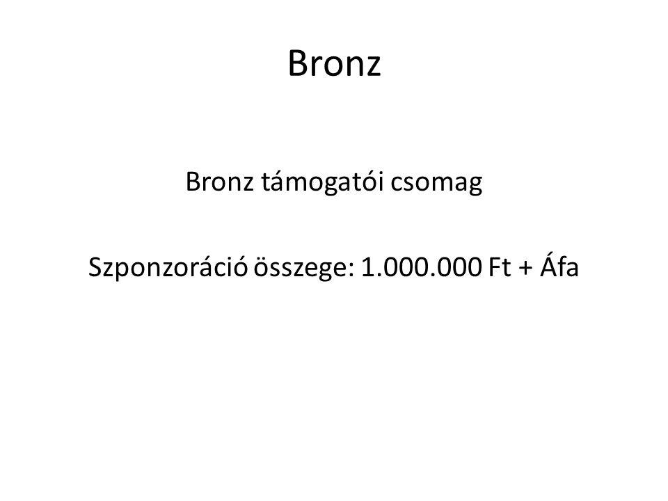 Bronz Bronz támogatói csomag Szponzoráció összege: 1.000.000 Ft + Áfa