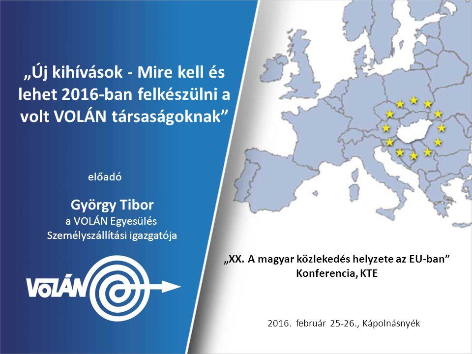 """""""Új kihívások - Mire kell és lehet 2016-ban felkészülni a volt VOLÁN társaságoknak"""" """"XX. A magyar közlekedés helyzete az EU-ban"""" Konferencia, KTE 2016"""
