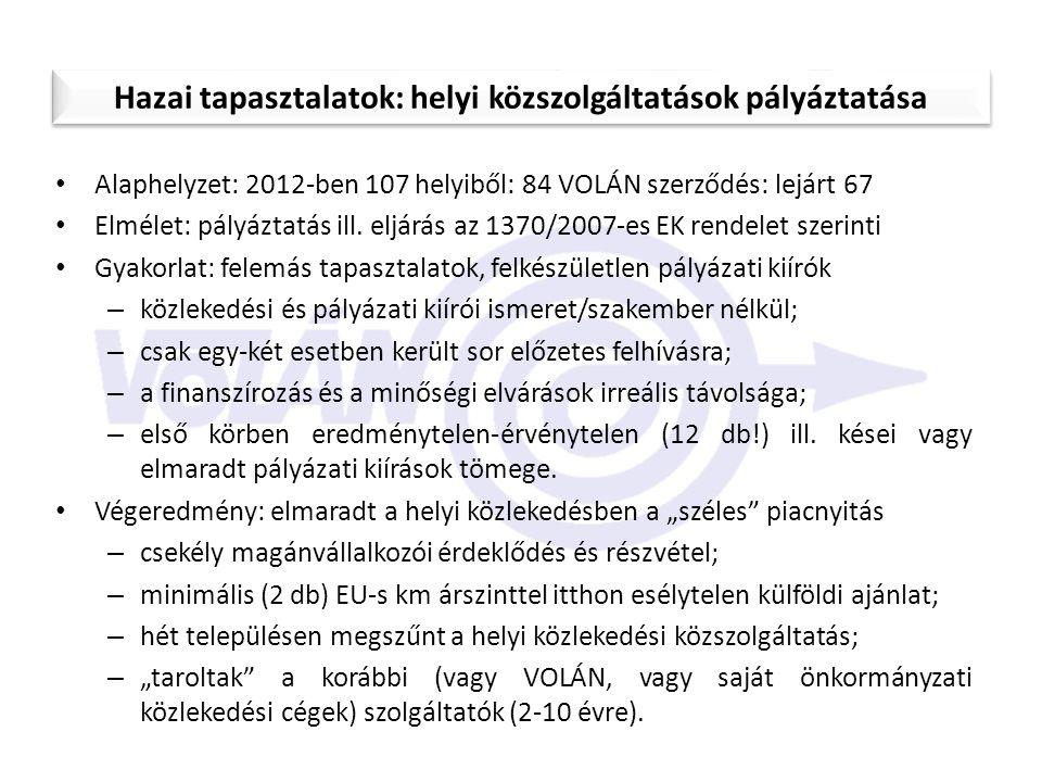 Alaphelyzet: 2012-ben 107 helyiből: 84 VOLÁN szerződés: lejárt 67 Elmélet: pályáztatás ill. eljárás az 1370/2007-es EK rendelet szerinti Gyakorlat: fe