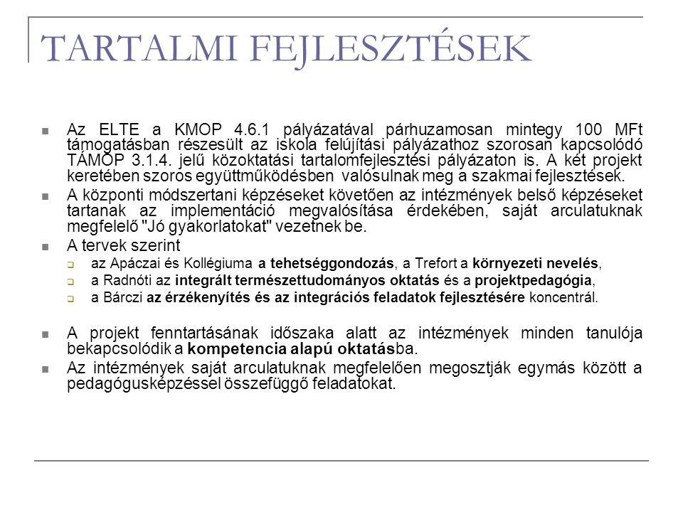 TARTALMI FEJLESZTÉSEK Az ELTE a KMOP 4.6.1 pályázatával párhuzamosan mintegy 100 MFt támogatásban részesült az iskola felújítási pályázathoz szorosan kapcsolódó TÁMOP 3.1.4.