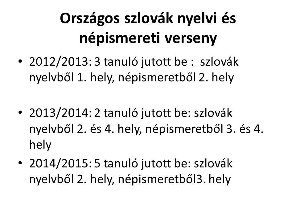 Országos szlovák nyelvi és népismereti verseny 2012/2013: 3 tanuló jutott be : szlovák nyelvből 1.