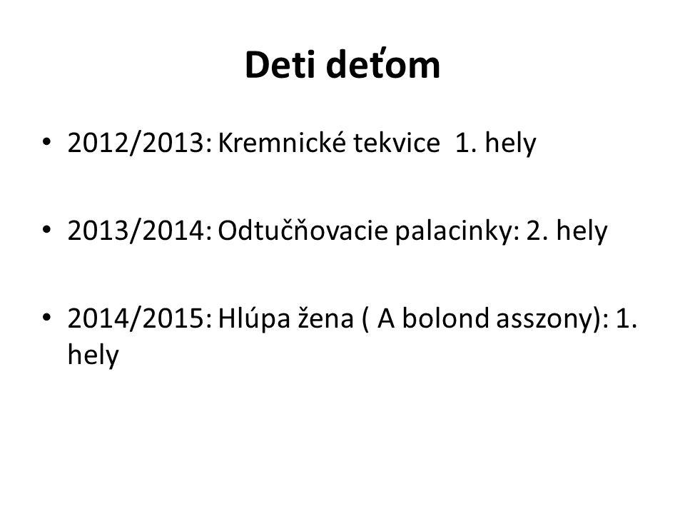 Deti deťom 2012/2013: Kremnické tekvice 1. hely 2013/2014: Odtučňovacie palacinky: 2.