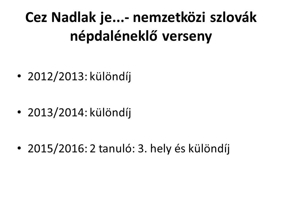 Cez Nadlak je...- nemzetközi szlovák népdaléneklő verseny 2012/2013: különdíj 2013/2014: különdíj 2015/2016: 2 tanuló: 3.
